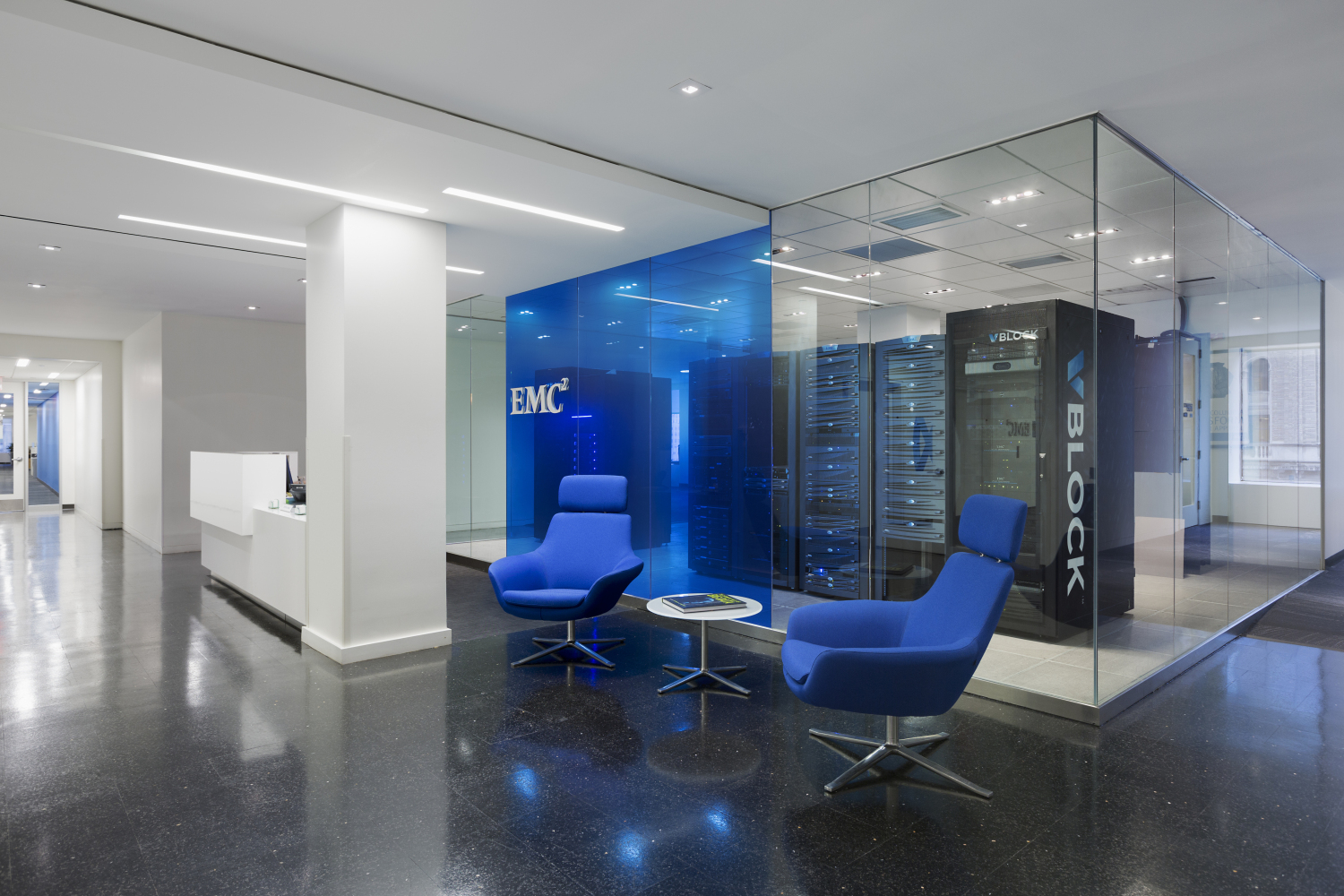 EMC blue branded office