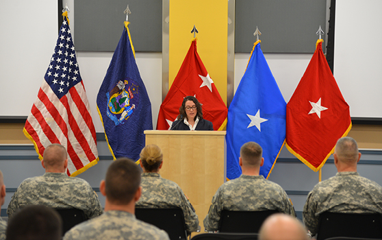 Howe addresses the Maine Army National Guard at the ribbon cutting ceremony for its new Aviation Readiness Center