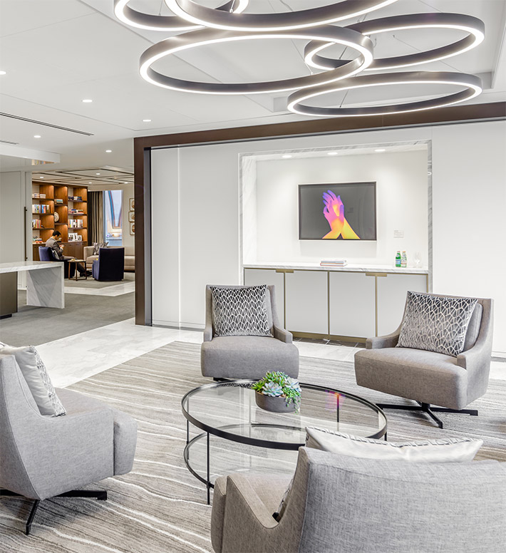 Luxury meeting room at JP Morgan Chase office in Rowes Wharf, Boston