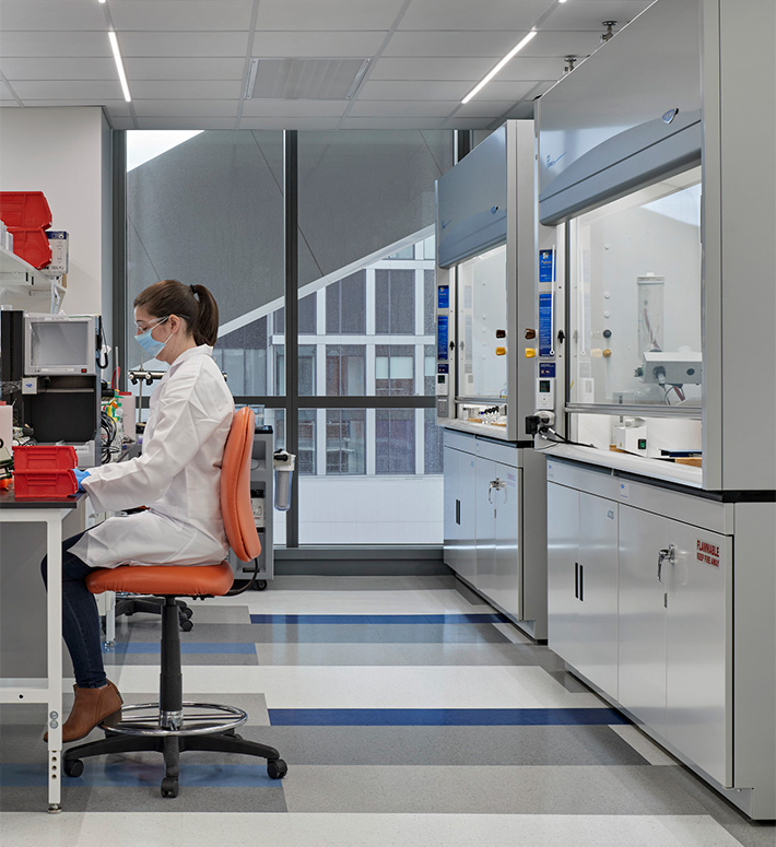 Seated lab worker in SmartLabs laboratory in Boston