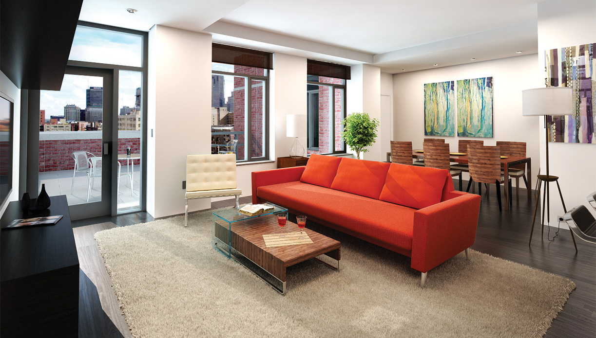 Living Room and private terrace at 44 Burbank