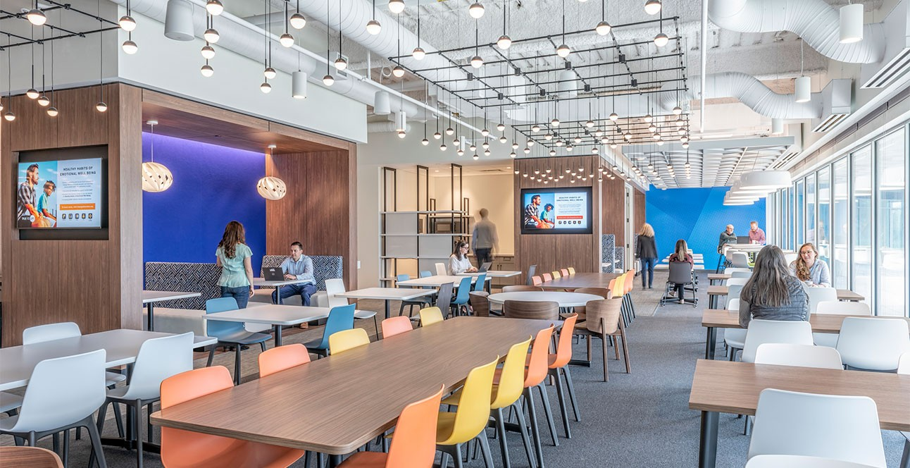 Large dining and cafe area at Olympus HQ in Massachusetts