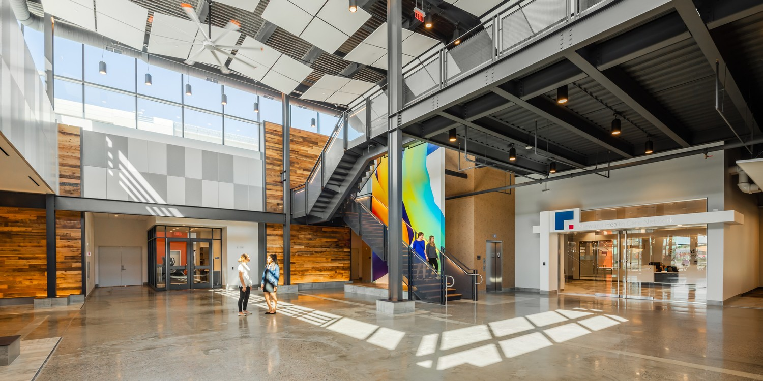 Lobby at 89 A Street Founders Park | Design by SMMA