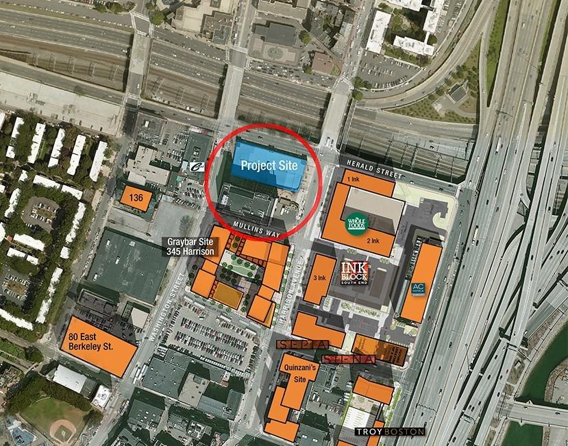 Aerial shot of 321 Harrison block development.