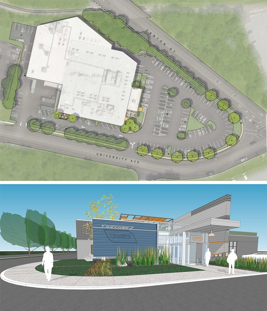 Site plan and design rendering for Cramer marketing offices