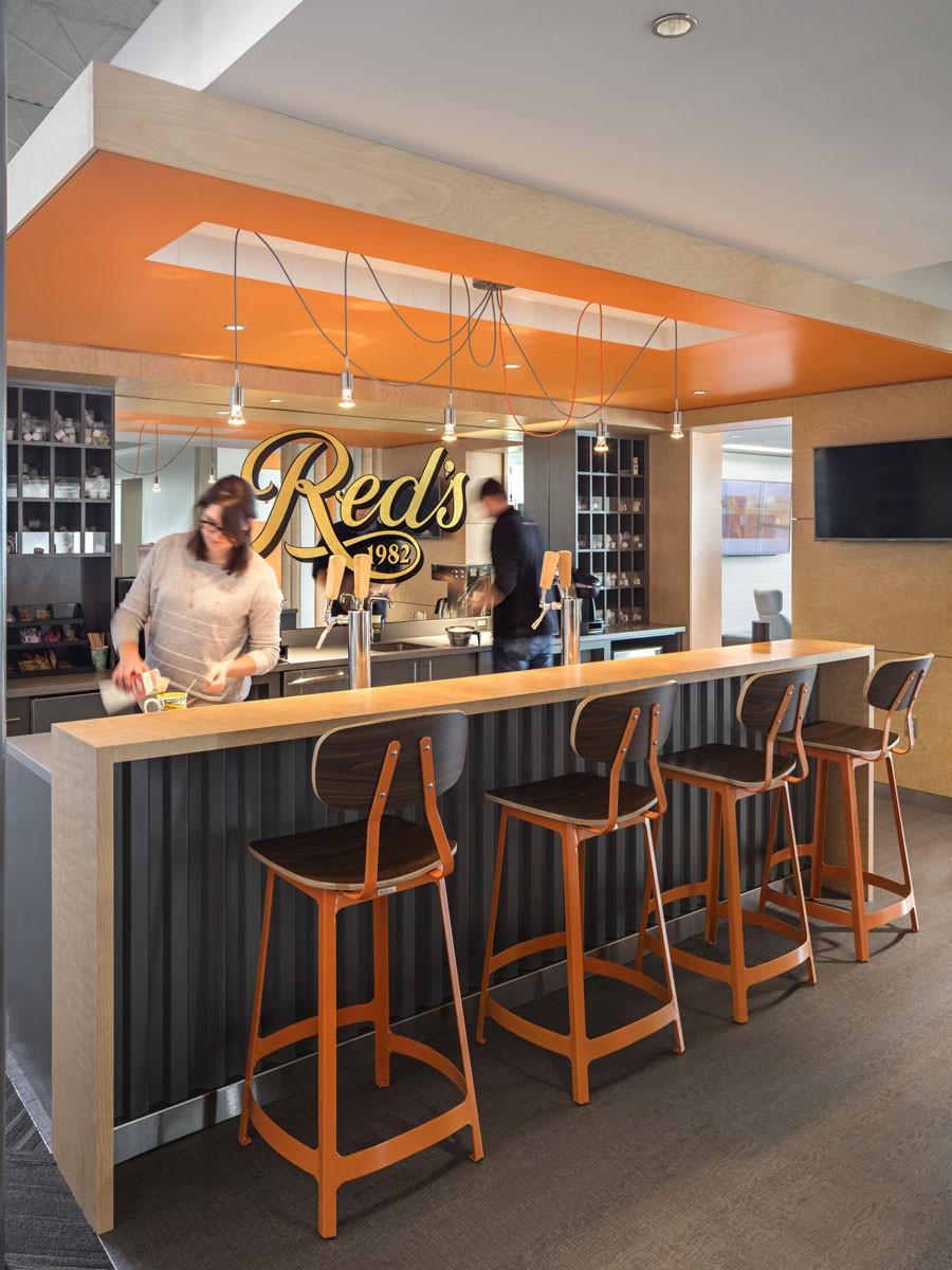 Reds bar seating at Cramer marketing workspace in Norwood, MA