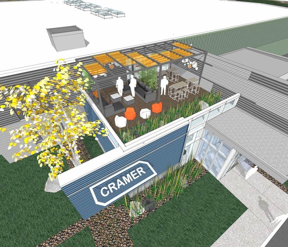 SMMA design rendering for balcony at Cramer marketing headquarters