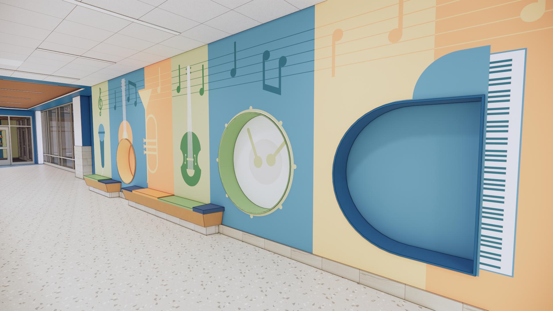 Phelps Elementary School Environmental Graphics Music Wall
