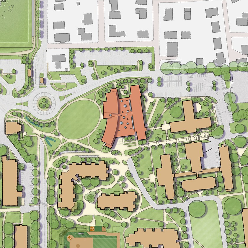 Campus plan showing Providence College's new School of Business and Huxley Avenue.