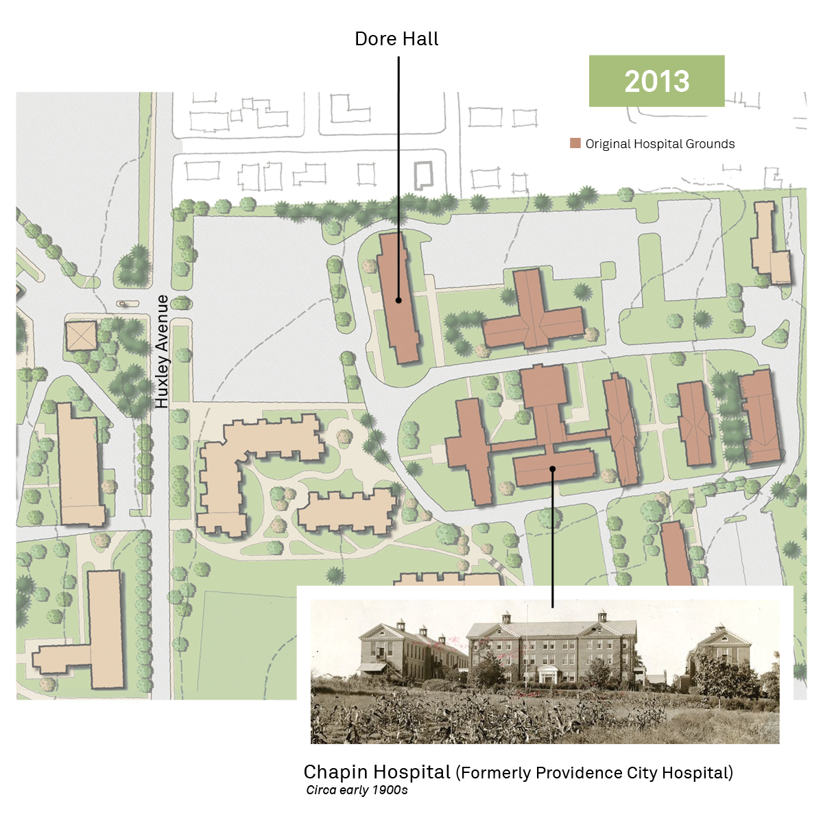 Historic Providence College map showing Providence city hospital and Dore Hall.