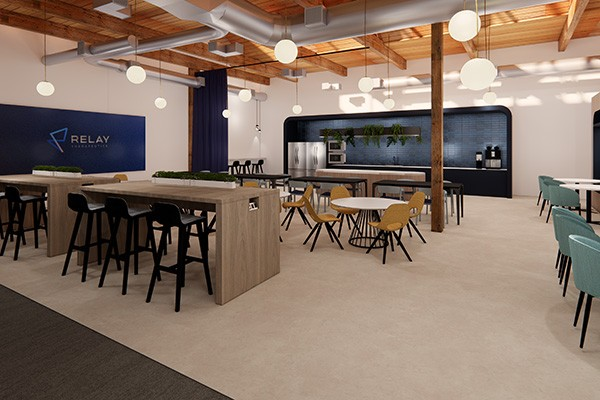Collaborative work and dining space at Cambridge MA life science firm