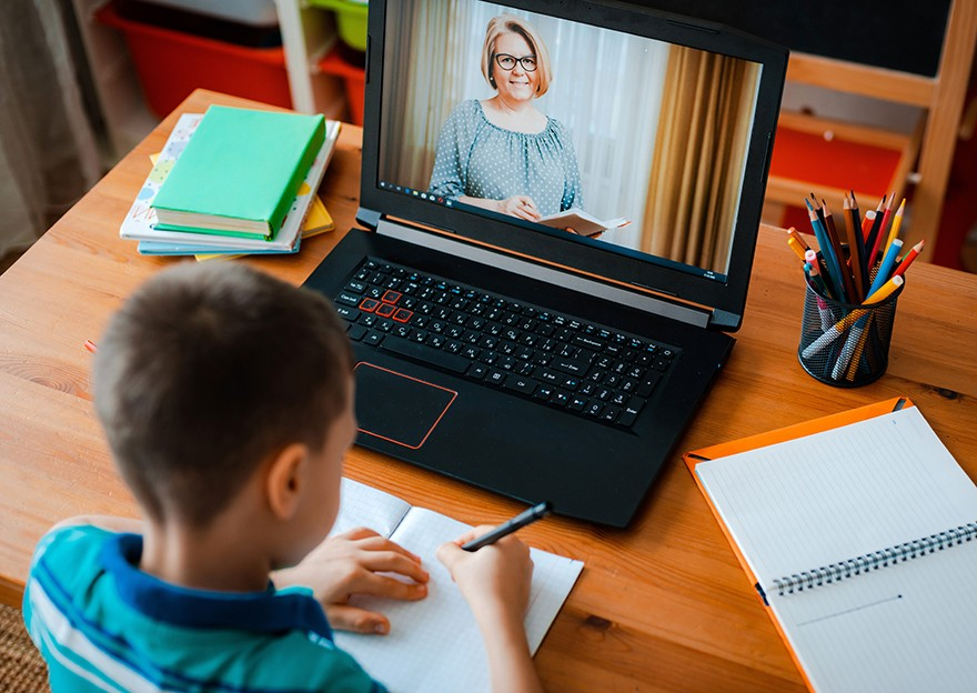 Post Pandemic Schools Remote Learning Video chat