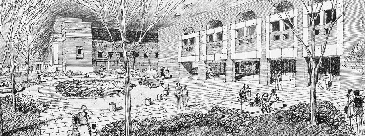 Hand drawn sketch of school plaza designed by SMMA