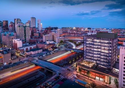 Aerial shot of 321 Harrison Avenue development in Boston