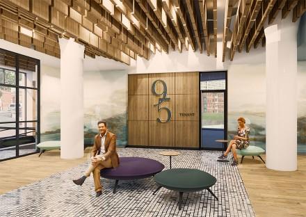 Design for new office lobby at 95 Berkeley in Boston