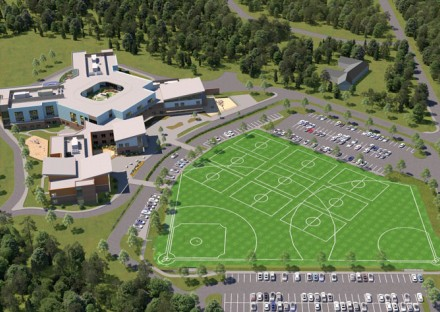 3D rendering of Andover West Elementary School from above