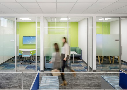 Breakout room with meeting room spaces in Biogen's Cambridge MA office