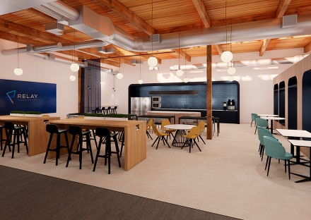 Design rendering of work cafe area in Relay Therapeutics new Cambridge office