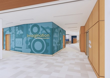 Imagination environmental graphics in hallway at Rockland Phelps elementary