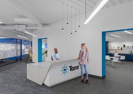 Tamr Cambridge front desk in new headquarters