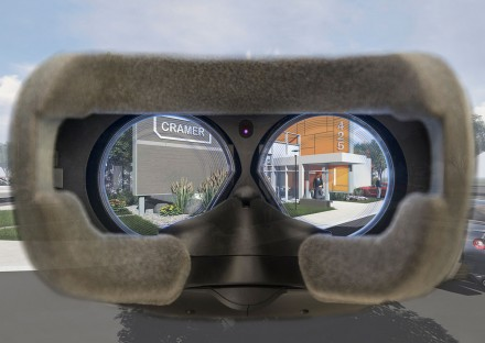 Virtual offices viewed through a VR headset
