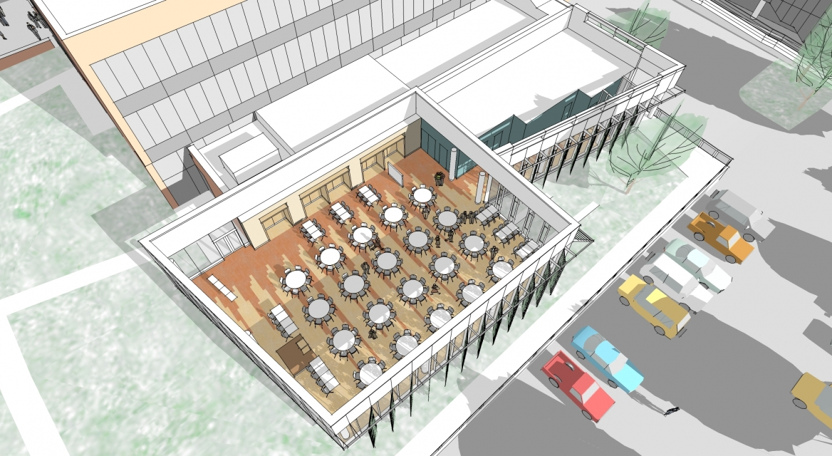 Framingham State McCarthy Dining Commons and Campus Center Interior Aerial SMMA