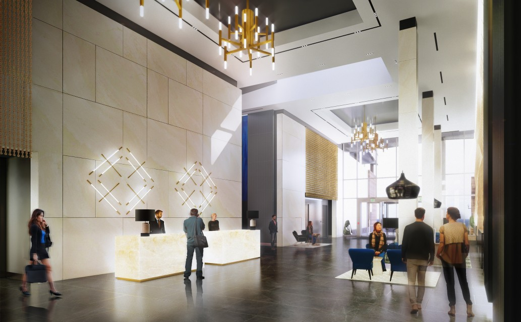 Lobby space designed by SMMA at 321 Harrison Avenue.