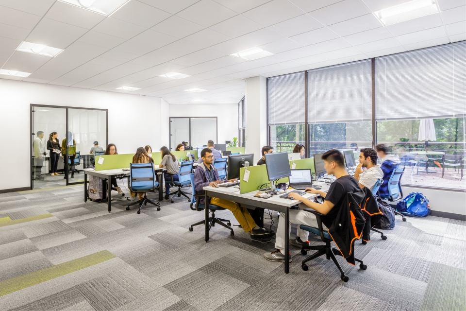 Coworking example at Z-Park in Cambridge, designed by SMMA.