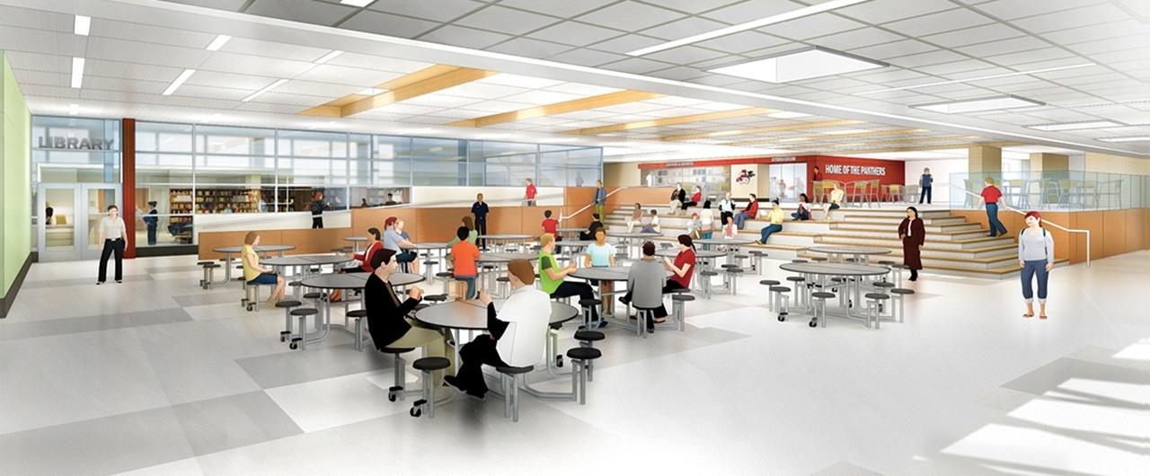 Rendering of School Cafeteria Design