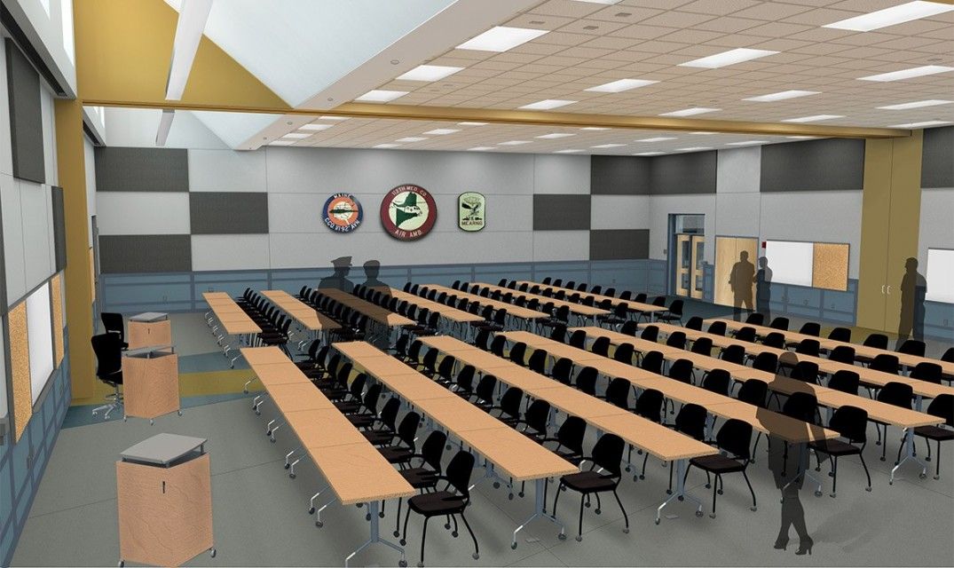Rendering for classroom with rows