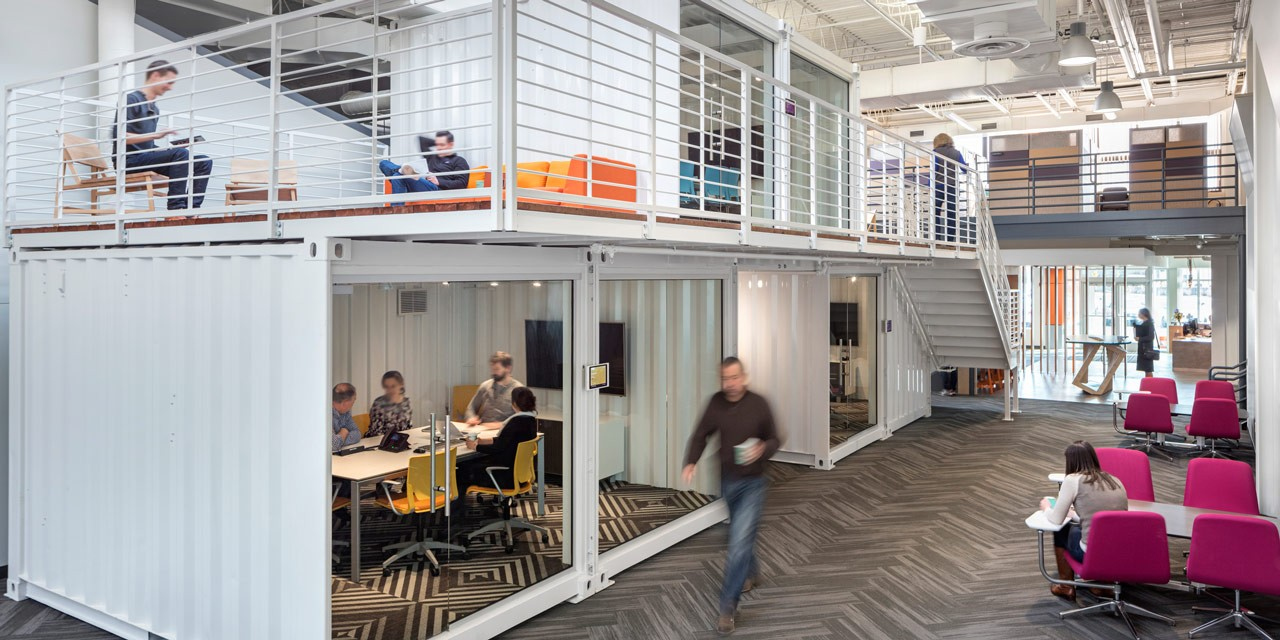 Shipping containers converted to office space in Norwood, Massachusetts