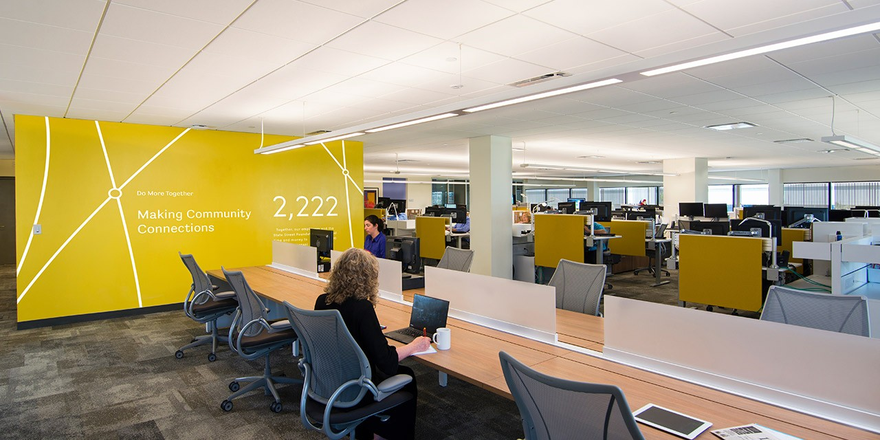 Alnlyam Corporate Branding Design   Yellow Branded Wall