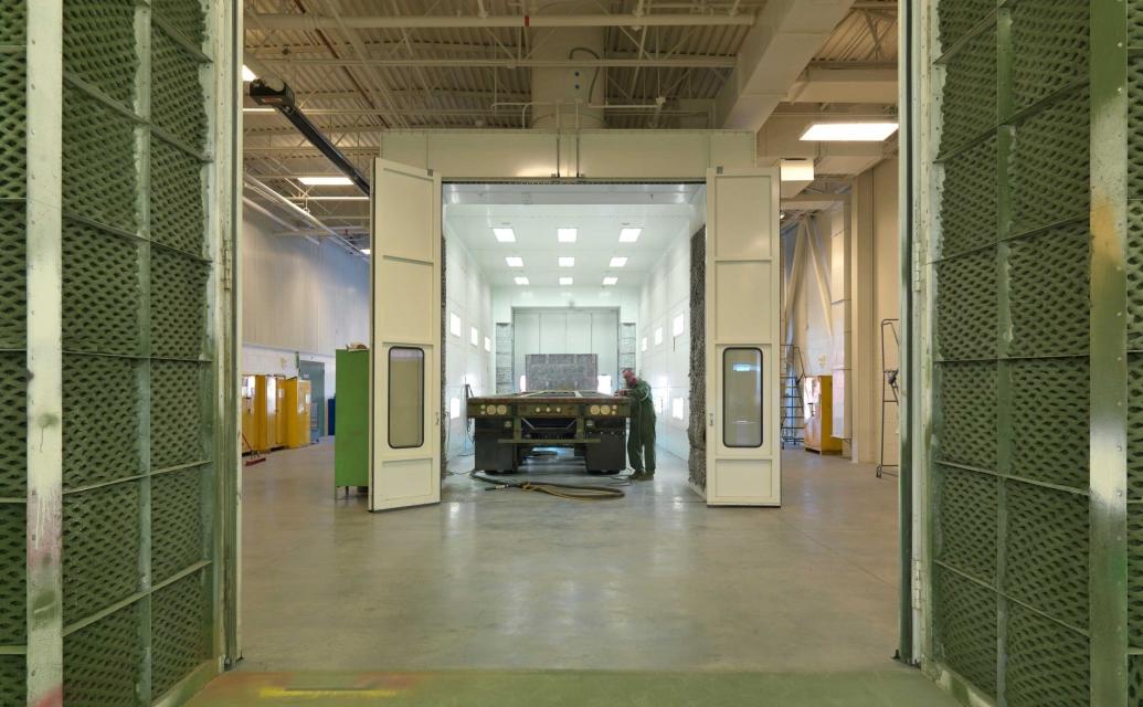 Fort Devens interior design with tank