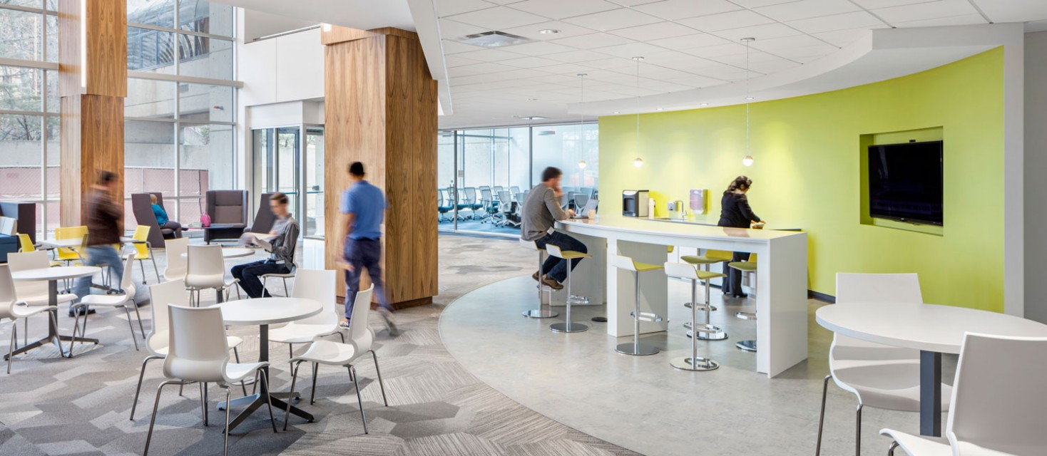 Cytiva employees collaborating in a break out area at the company's new HQ