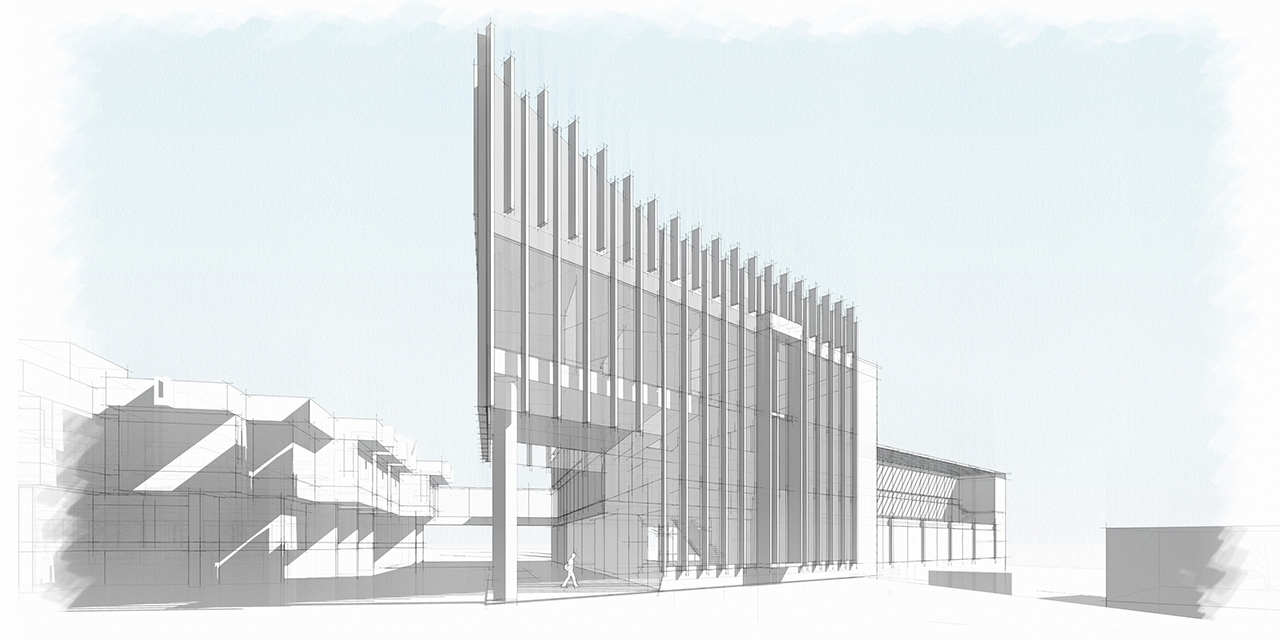 Design rendering of humanities building