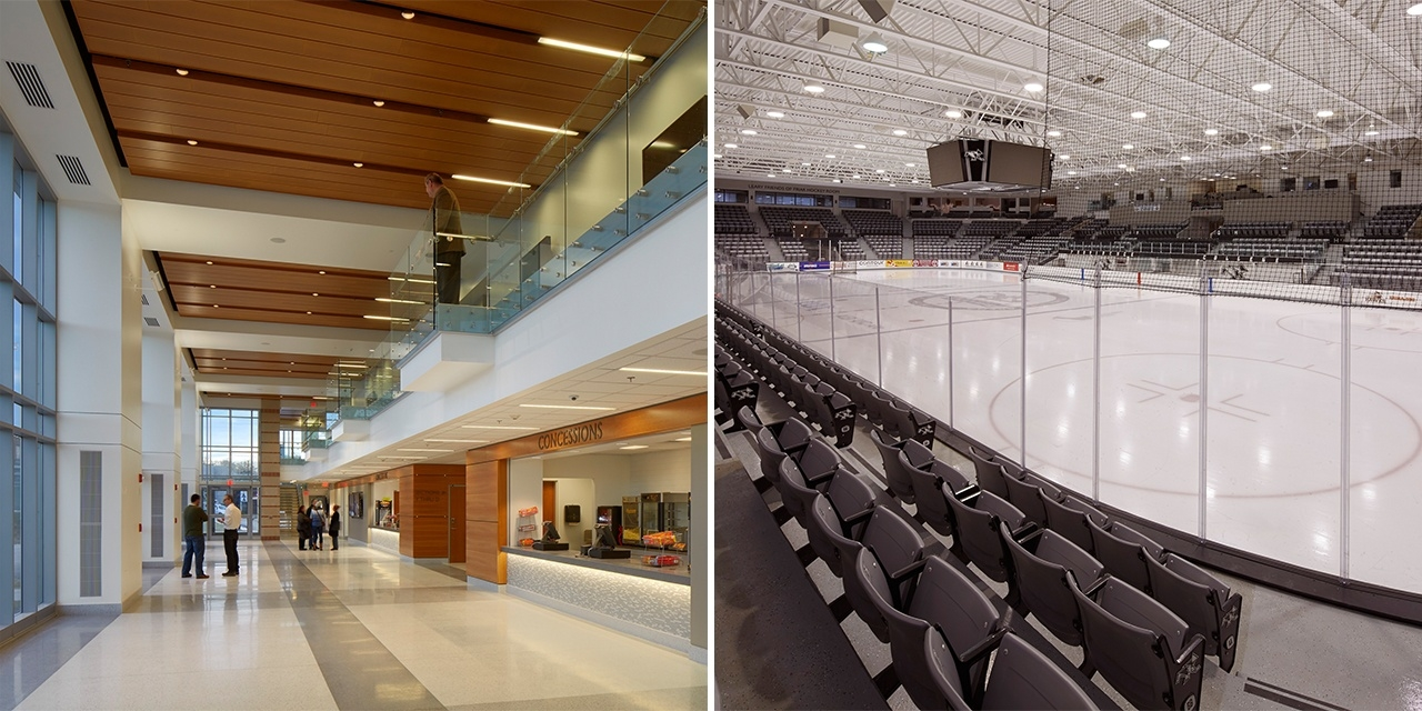 Interior and exterior design of Schneider Hockey Arena