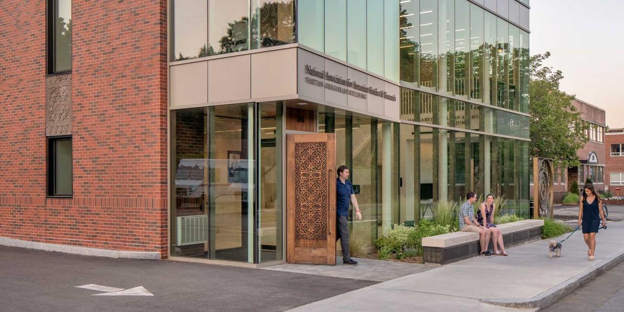 Hand carved front door at NAASR Vartan Gregorian Armenian Center