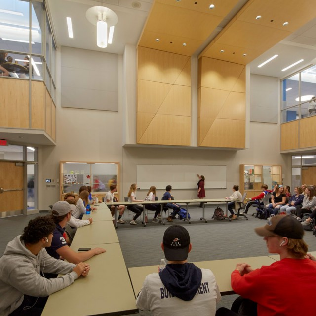Large instruction area for humanities at North Middlesex Regional High School