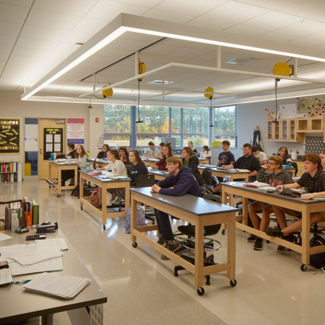 Science lab classroom at North Middlesex Regional High School