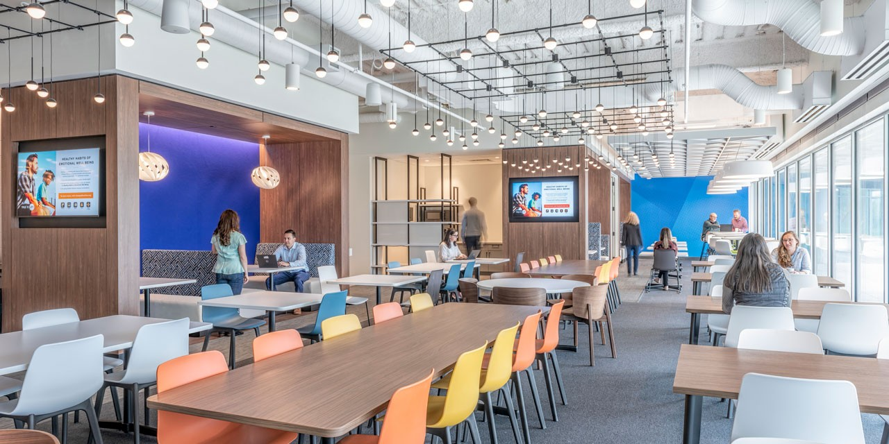 Collaborative work and dining area at new Olympus Massachusetts headquarters