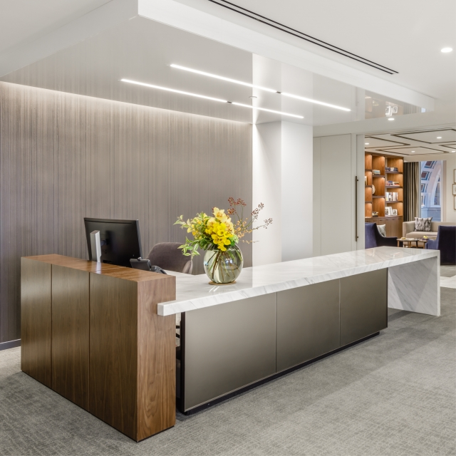 50 Rowes Wharf front-end client center and office space.
