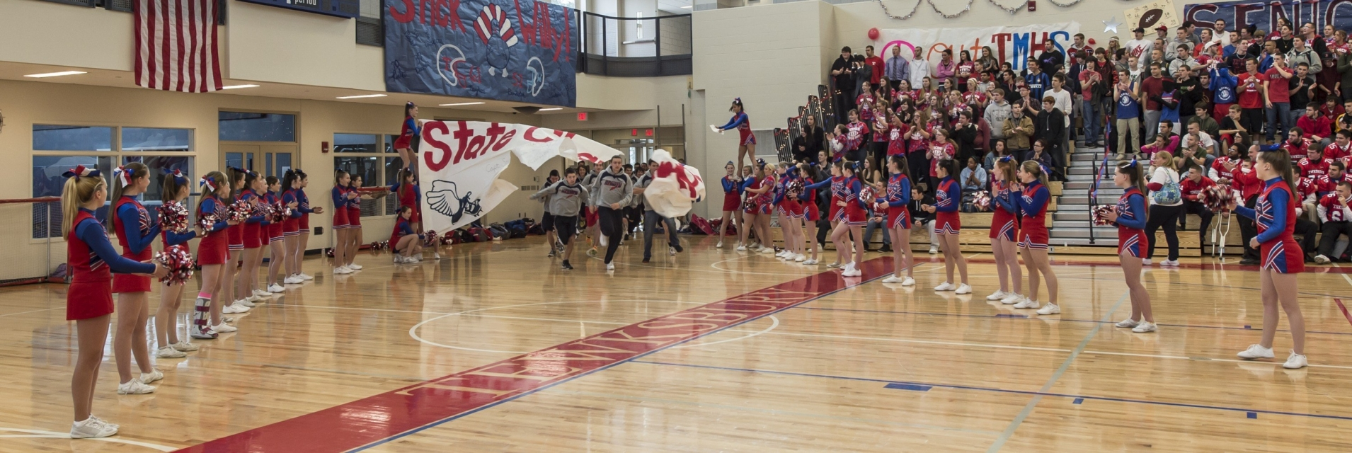 Pep rally at Tewkbury High School's new gym